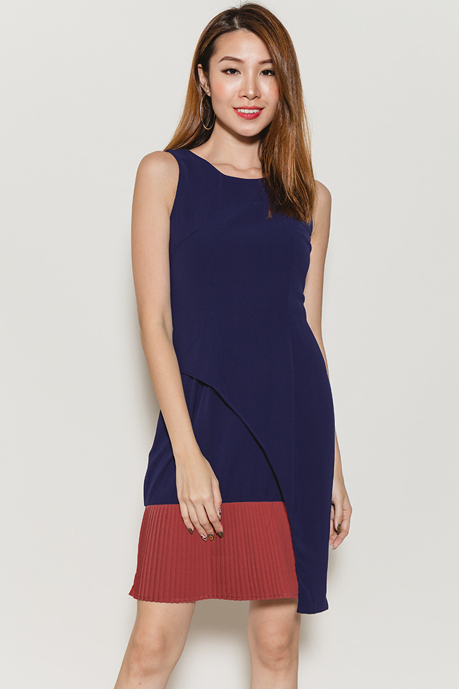 Enya Foldover Pleated Hem Dress (Navy/Terracotta)