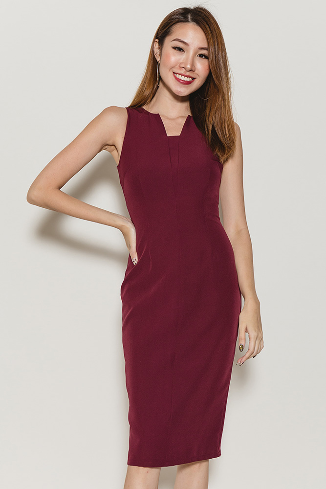 Cecile Cutout Neckline Pencil Dress (Wine)