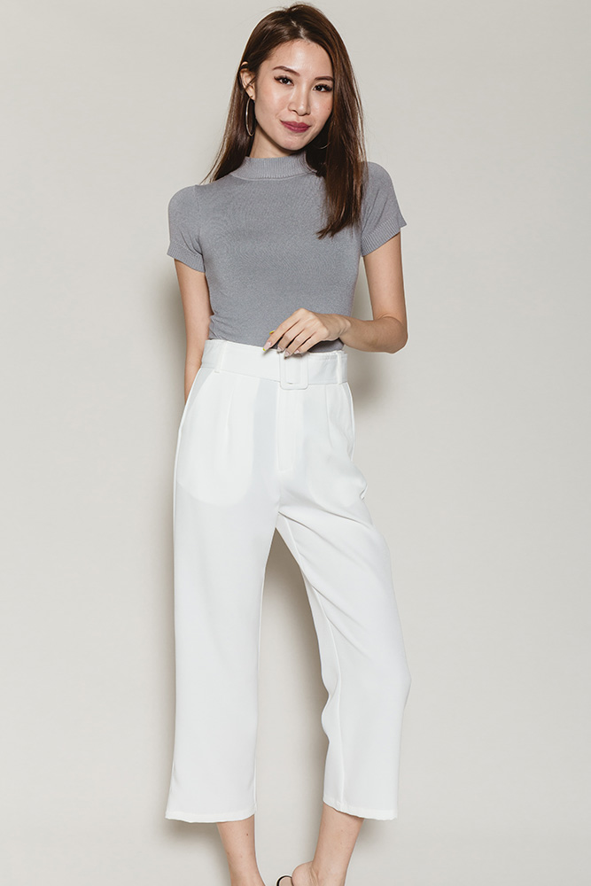 Petria Cigarette Pants W Detachable Belt (White)