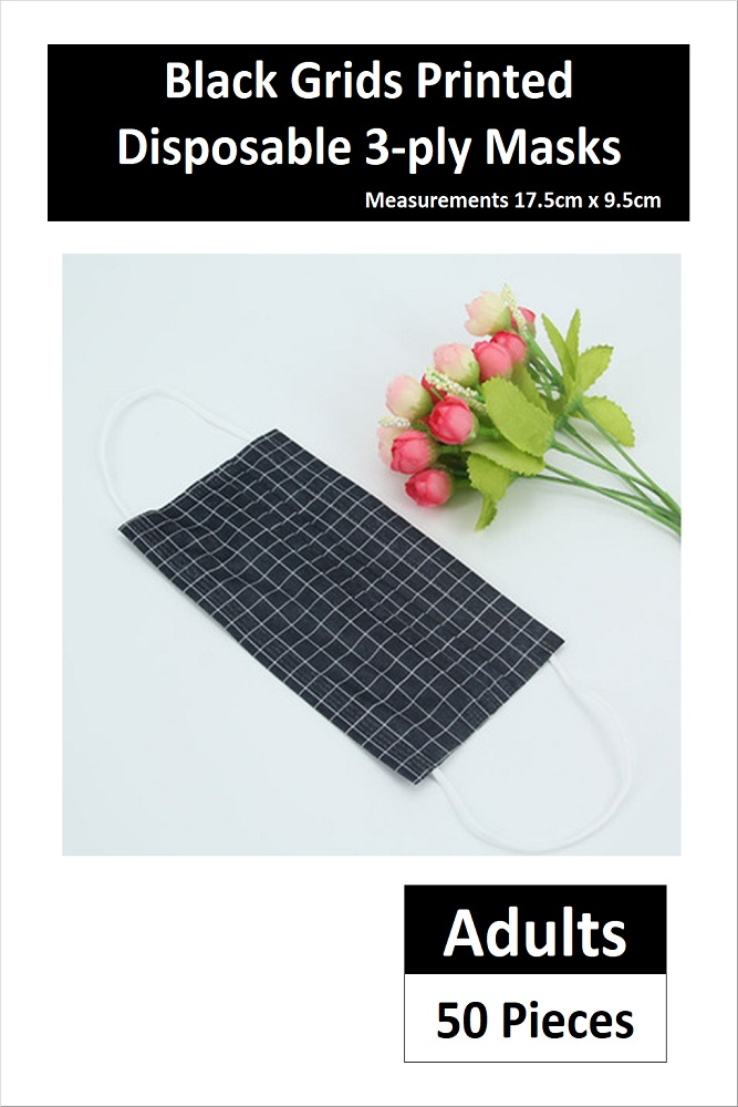ADULT DISPOSABLE 3-PLY FACE MASK IN BLACK GRIDS (50 PCS)