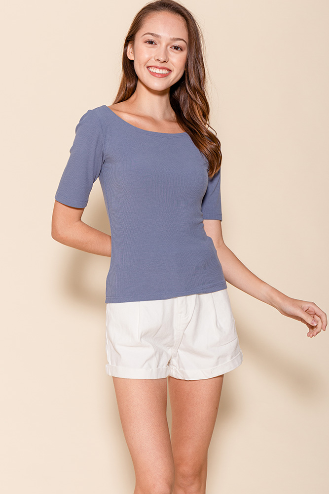Delphine Mid-Sleeved Top (Ash Blue)