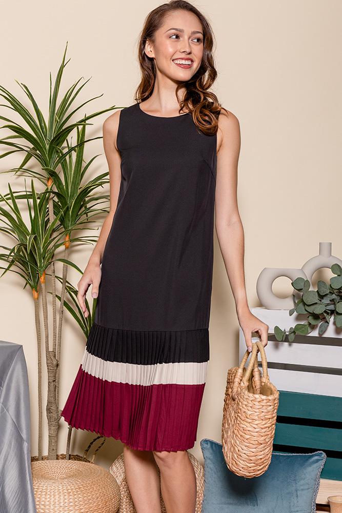 Thalia Colour Block Pleated Hem Dress (Black)