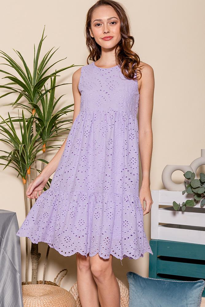 Luna Babydoll Eyelet Dress (Lilac)