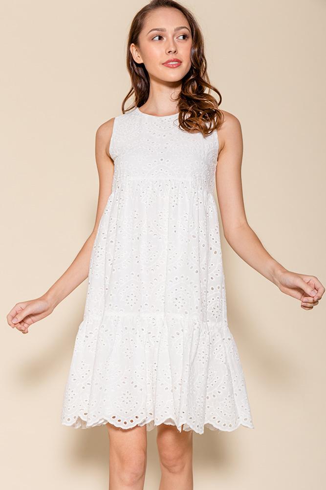 Luna Babydoll Eyelet Dress (White)