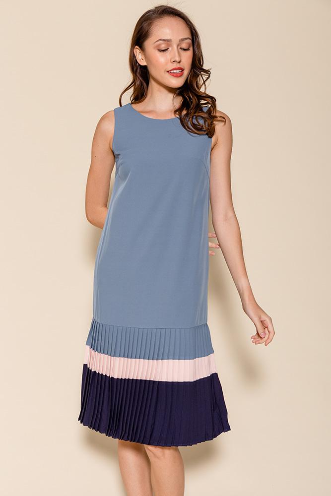Thalia Colour Block Pleated Hem Dress (Cerulean Blue)