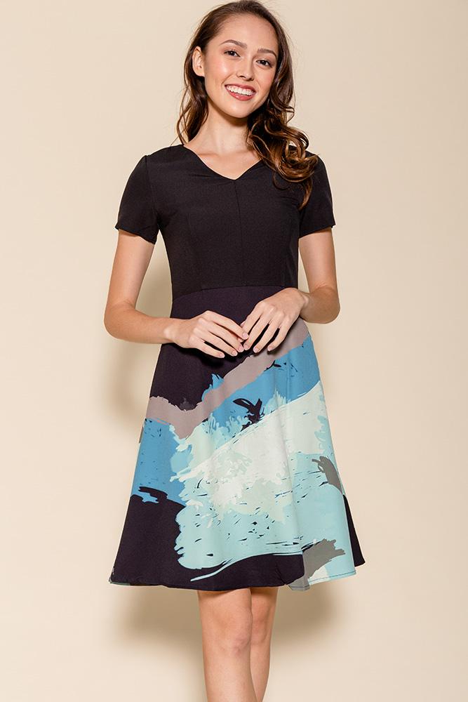Aquarelle A-Line Dress (Black)