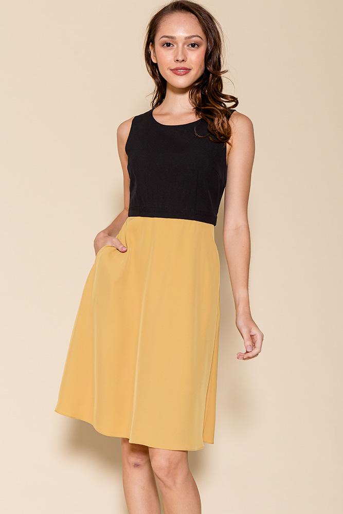 Cheyenne Convertible A-Line Dress (Black/Mustard)