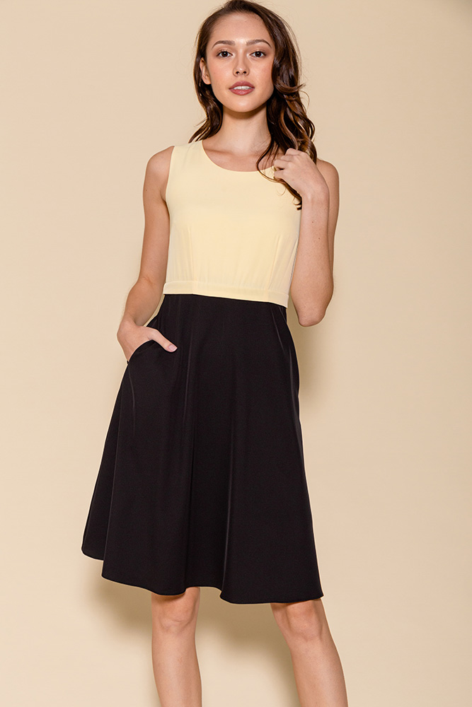 Cheyenne Convertible A-Line Dress (Daffodil/Black)