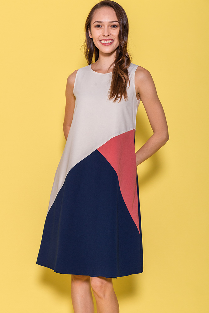 Calla Colour Block Dress (Ivory)