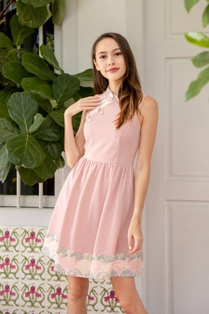 *BACKORDER* The Tale of Genji Cheongsam Dress W Fabric Face Mask (Pink)