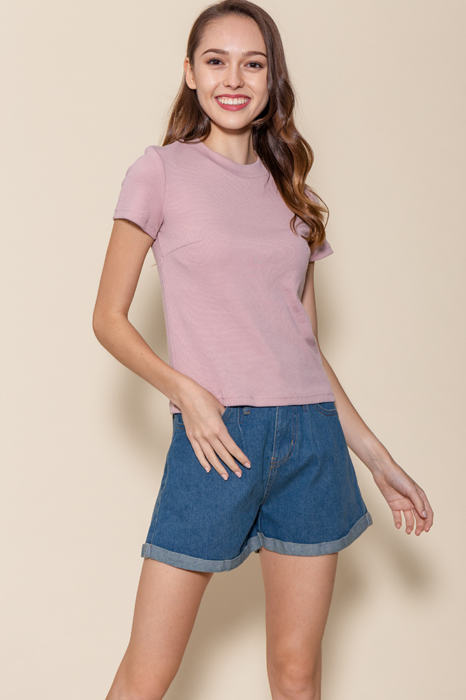 Bexley Basic Ribbed Top (Dusty Pink)