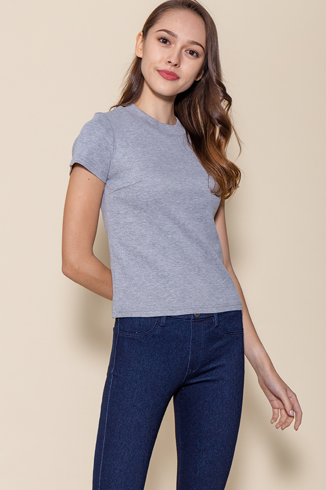 Bexley Basic Ribbed Top (Heather Grey)