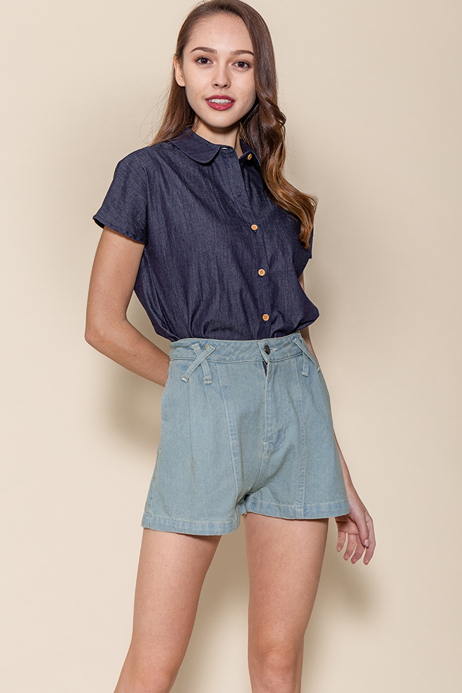 Jayden Boxy Chambray Shirt (Navy)