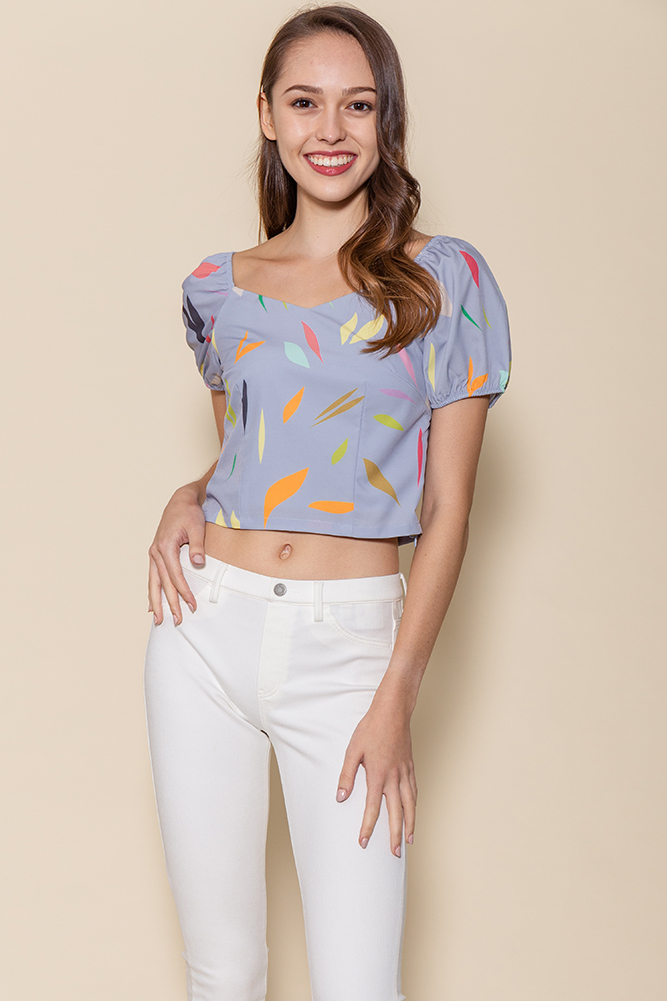 Tessa Puffy Sleeves Top (Cornflower Blue Abstract)
