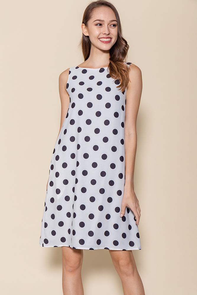 Tinsley Reversible Polka Dots Dress (White/Steel Blue)