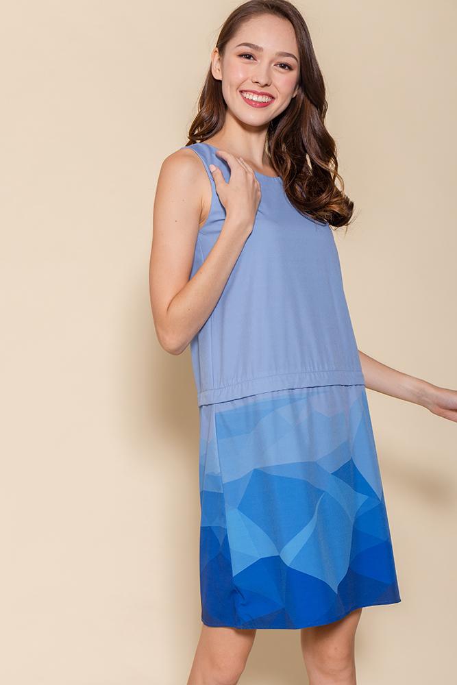 Malory Convertible Ombre Shift Dress (Sapphire)