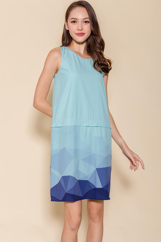 Malory Convertible Ombre Shift Dress (Aqua)