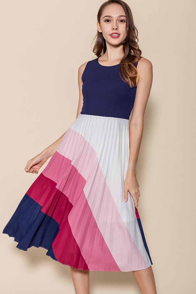 Rays Of Hope Pleated Midi Dress (Navy)