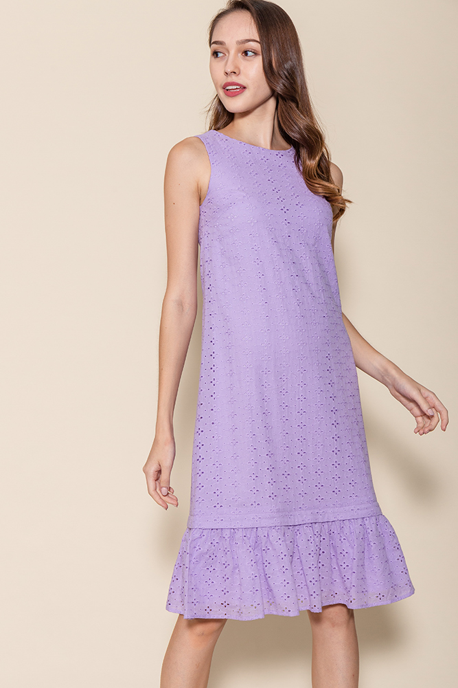 Ayana Eyelet Dress W Removable Hem (Lavender)