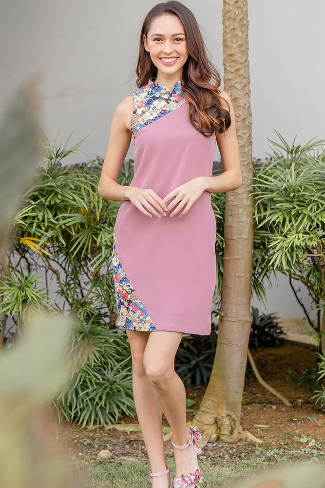 Karesansui Dreamscape Cheongsam Dress (Dusty Pink)