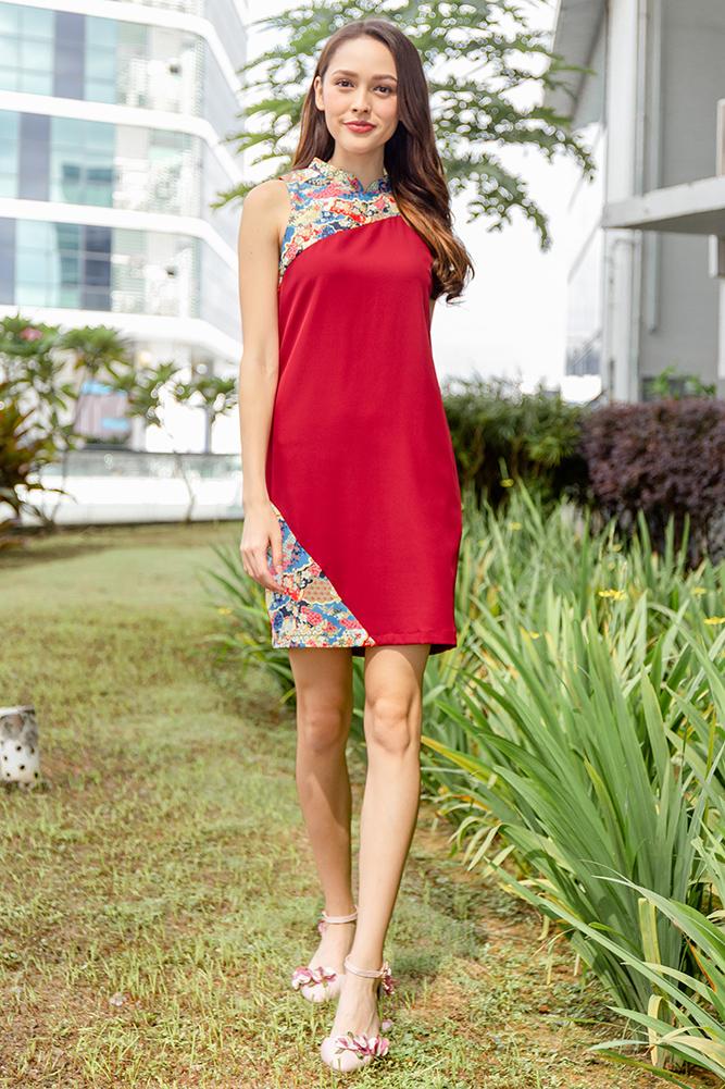 Karesansui Dreamscape Cheongsam Dress (Wine Red)