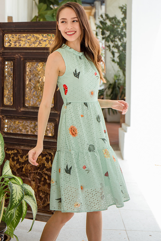Spring Merriments Tiered Eyelet Dress (Pastel Green)