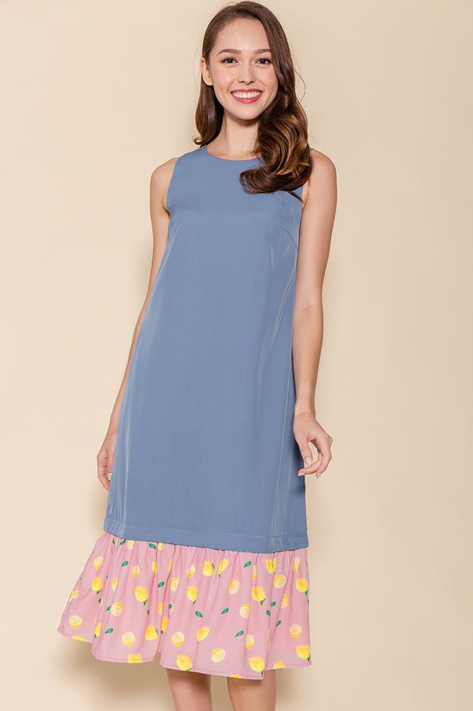 Miss Poppins Dress W Removable Hem (Ash Blue)