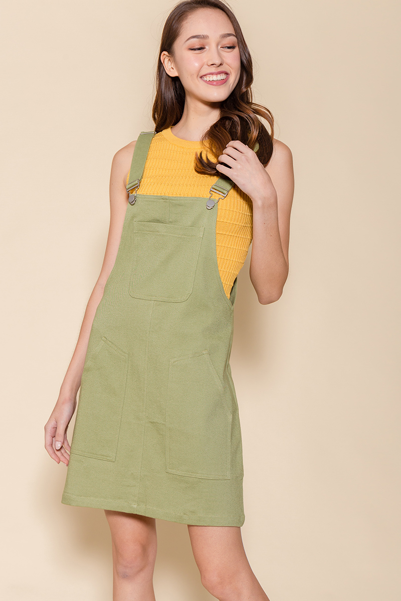 The Weekender Dungaree Dress (Light Khaki)
