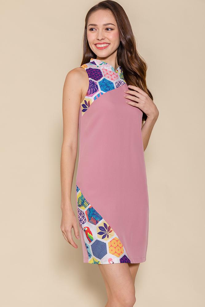 Mosaic of Life Cheongsam Dress (Pink)