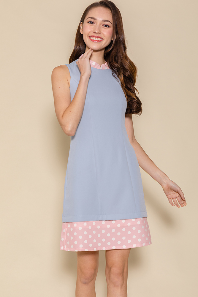 The Perfect Spotty Cheongsam Romper W Fabric Mask (Baby Blue)