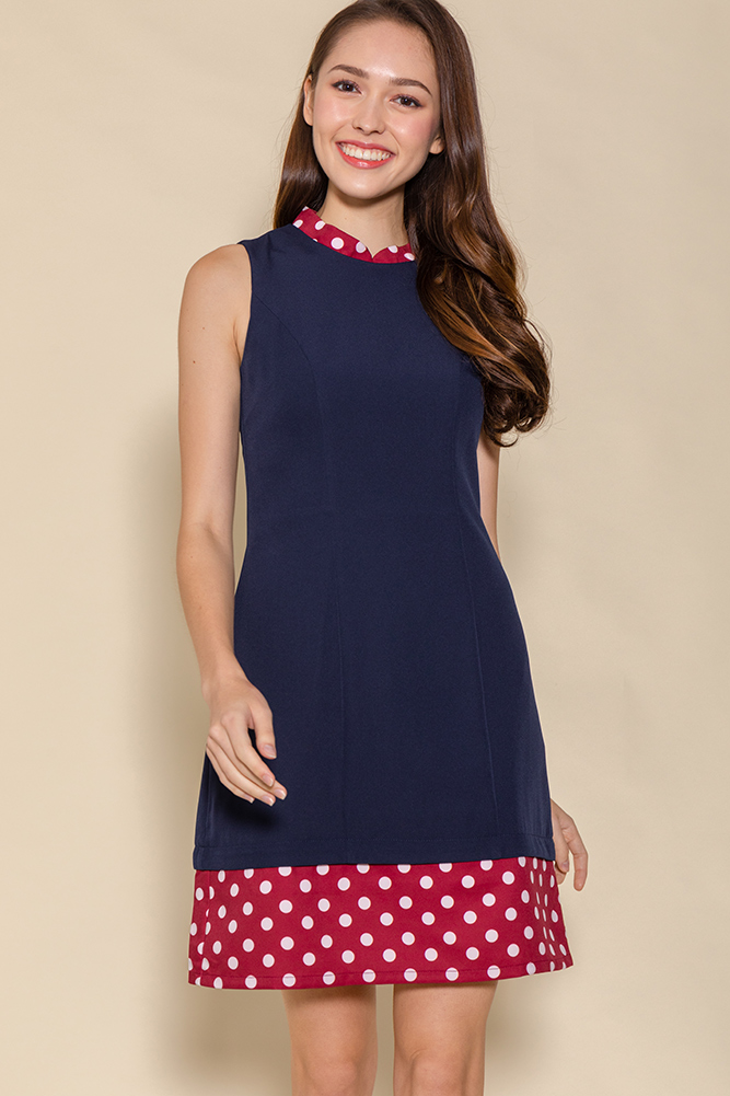 The Perfect Spotty Cheongsam Romper W Fabric Mask (Navy)