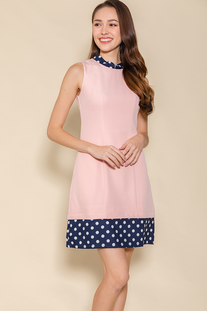 The Perfect Spotty Cheongsam Romper W Fabric Mask (Pink)