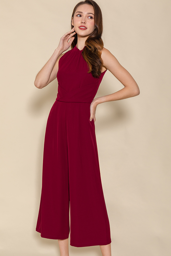 Minerva Cross Wrap Jumpsuit (Wine)