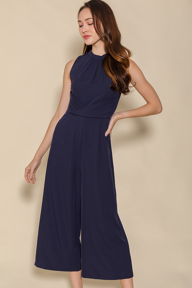 Minerva Cross Wrap Jumpsuit (Navy)