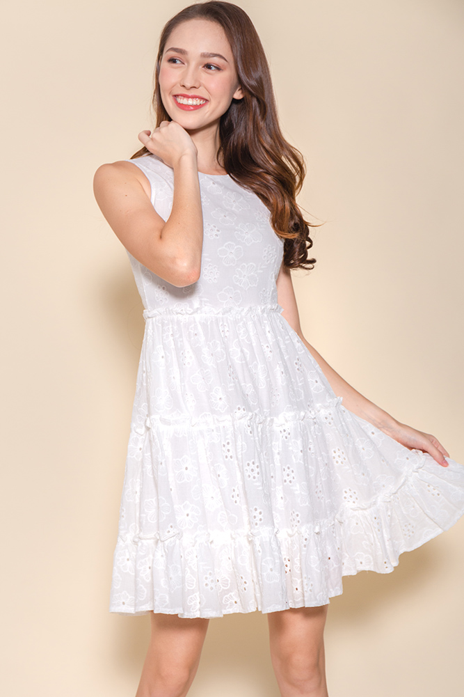 Little Notting Hill Eyelet Swing Dress (White)