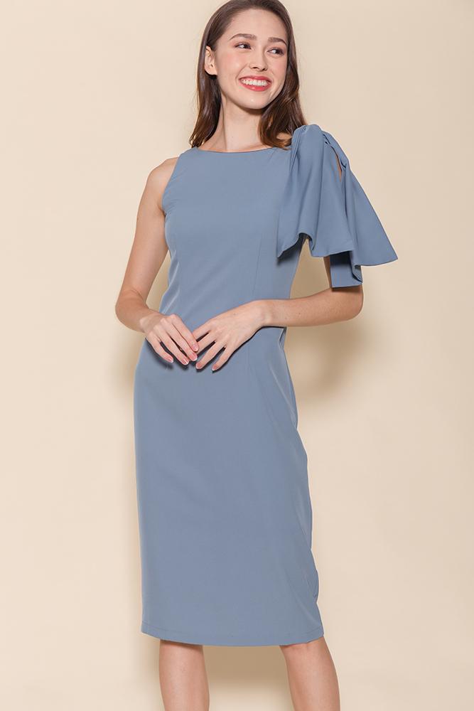 Paris Pencil Dress (Ash Blue)