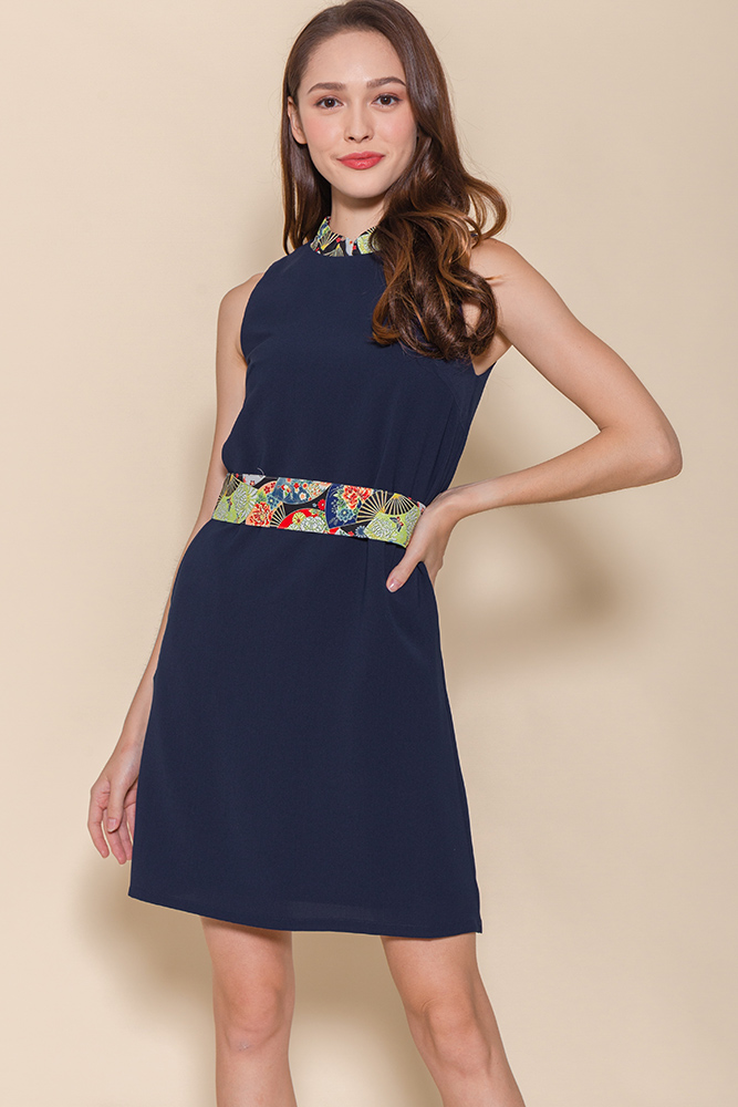 Sensu Cheongsam Dress W Fabric Mask (Navy)