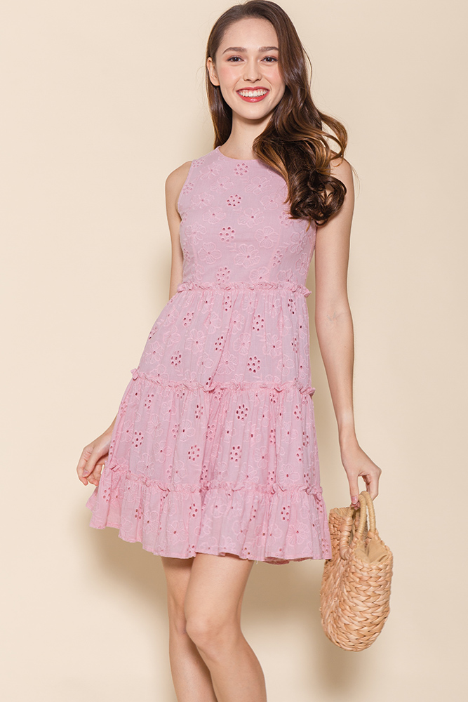 Little Notting Hill Eyelet Swing Dress (Blossom Pink)