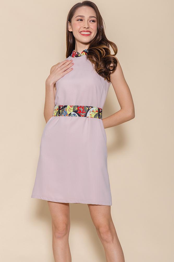 Sensu Cheongsam Dress W Fabric Mask (Pink)