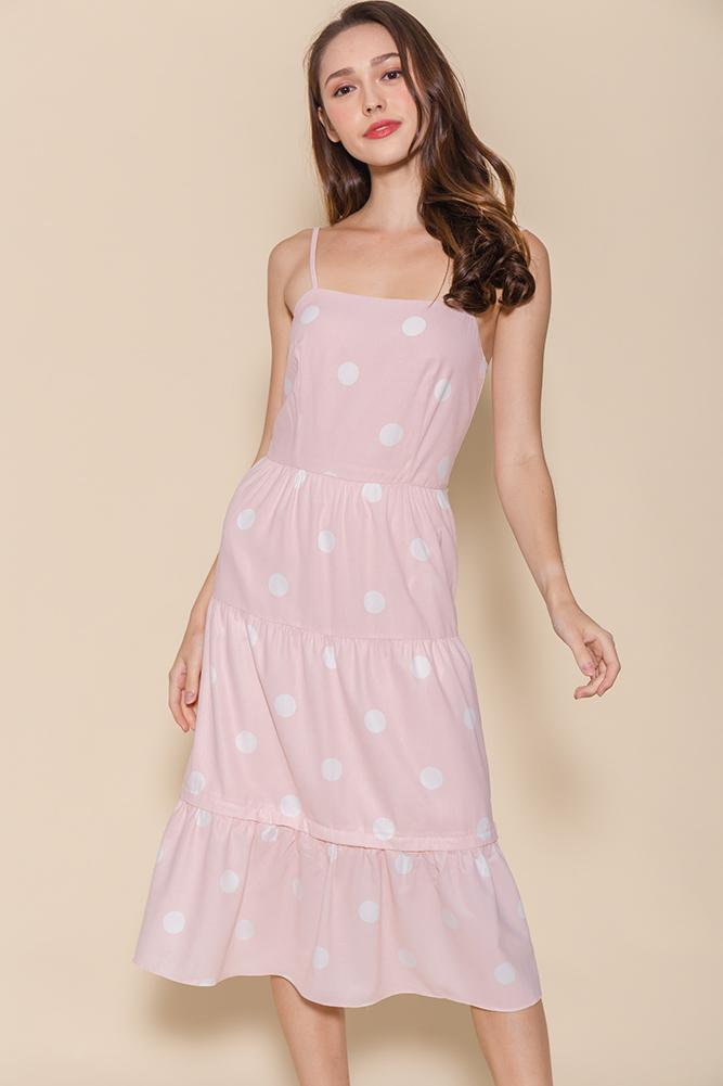 Miss Sunshine Tiered Midi Dress W Removable Hem (Pink Polkadots)