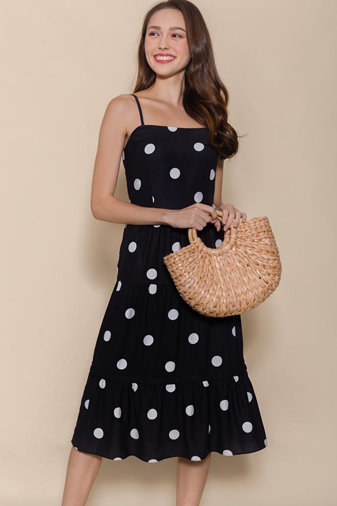 Miss Sunshine Tiered Midi Dress W Removable Hem (Black Polkadots)