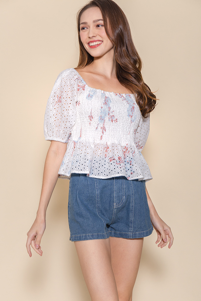 Miss Congeniality Eyelet Smock Top (White/Pastel Floral)