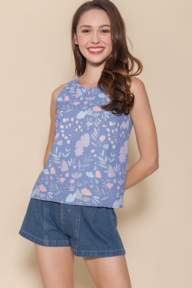 Binker Bell's Magical Flowers Reversible Tank Top (Blue Floral/Blue Polkadots)
