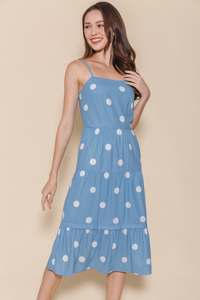 Miss Sunshine Tiered Midi Dress W Removable Hem (Blue Polkadots)