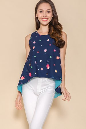 *BACKORDER* My Secret Garden Reversible Top W Fabric Mask (Navy)