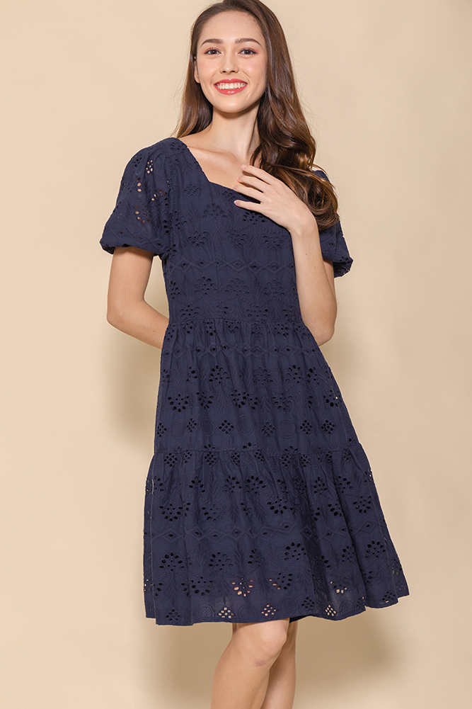 Spring Medley Eyelet Swing Dress (Navy)