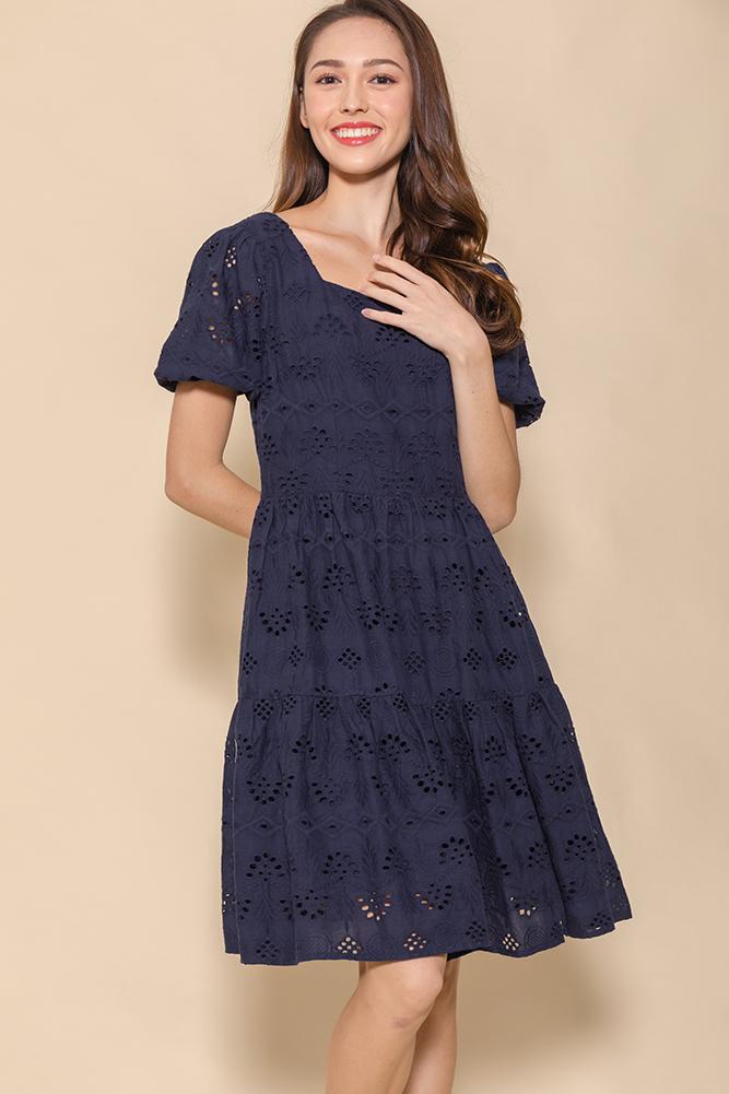 Spring Medley Eyelet Swing Dress (Navy)
