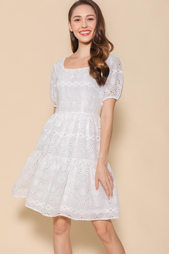 Spring Medley Eyelet Swing Dress (White)