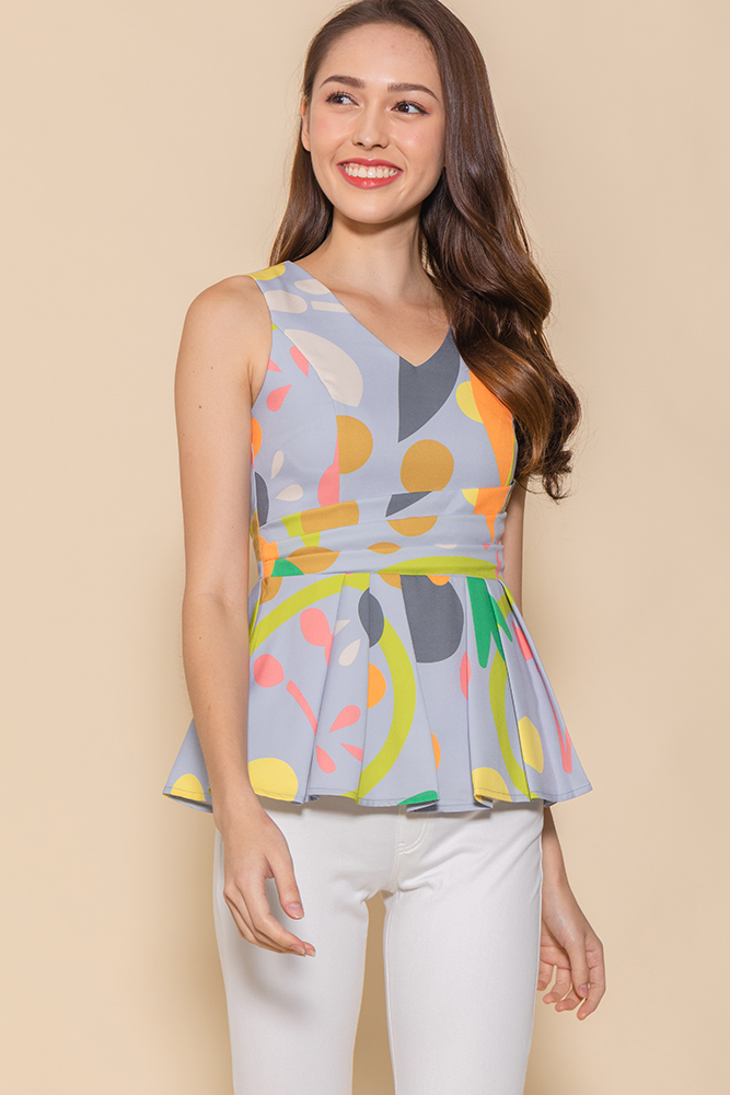 Ashstar Cross Wrap Peplum Top (Cornflower Blue Abstract)