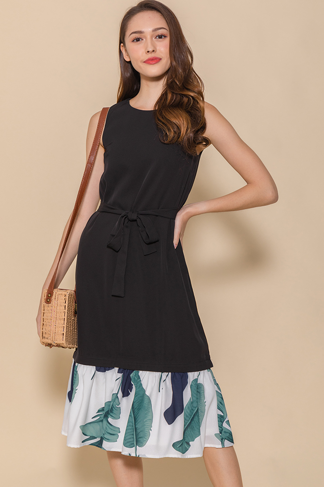 Astrid Midi Flounce Dress W Interchangeable Hems (Black)
